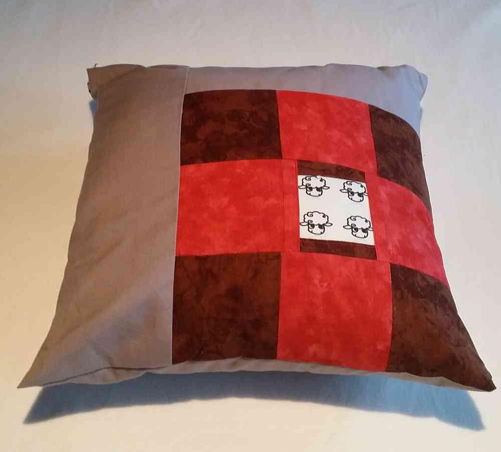 Kissen Grau Rot Ihr Onlineshop Für Häkeln Stricken Wolle Garne
